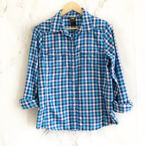 The North Face Tops - North face blue snap button top gingham plaid